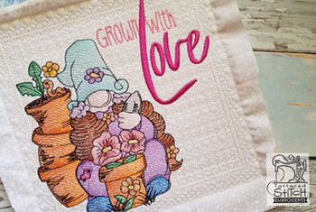 """Girl Gardening Gnome (Gnome Only) - Fits a 4x4"""",  5x7"""" &  8x8"""" Hoop - Machine Embroidery Designs"""