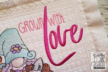 """Grown With Love (Phrase Only) - Fits a 4x4"""" & 5x7""""  Hoop - Machine Embroidery Designs"""