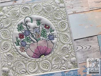 "Floral Umbrella Quilt Block-Fits a  5x5"", 6x6"", 7x7"", 8x8"" & 10x10""  Hoop - Machine Embroidery Designs"