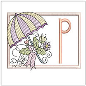 Umbrella Applique ABCs - P - Embroidery Designs