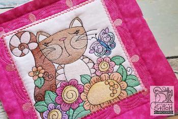 "Cat Quilt Block #1 - Fits a  4x4"", 5x5"", 6x6"", 7x7"", 8x8"" & 10x10""  Hoop - Machine Embroidery Designs"
