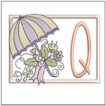 Umbrella Applique ABCs - Q - Embroidery Designs