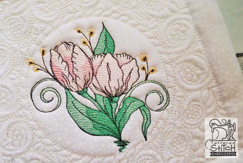 """Tulip Cluster Quilt Block-Fits a  5x5"""", 6x6"""", 7x7"""", 8x8"""" & 10x10""""  Hoop - Machine Embroidery Designs"""