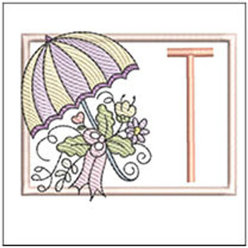 Umbrella Applique ABCs - T - Embroidery Designs