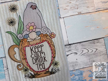 """Teacup Gnome - Fits a  5x7"""" &  8x8"""" Hoop - Machine Embroidery Designs"""