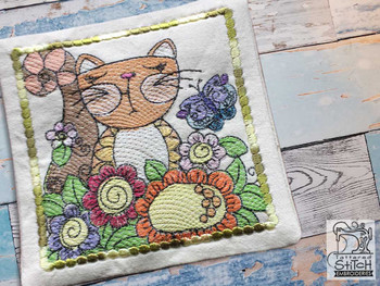 "Cat1 Mug Rug - Fits a 5x7"" Hoop - Machine Embroidery Designs"