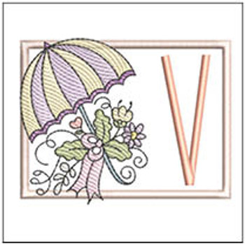 Umbrella Applique ABCs - V - Embroidery Designs