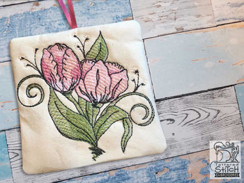 "Tulip Sachet -  Fits a 4x4"" Hoop - Machine Embroidery Designs"