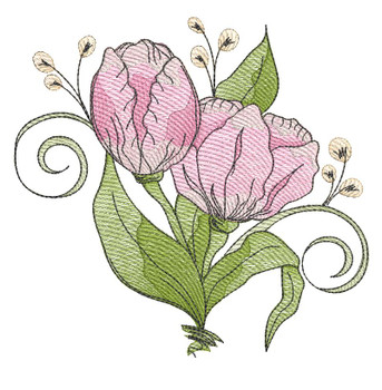 "Tulip Cluster (Flowers Only - NO Background)-  Fits a 4x4"", 5x7"" and 8x8"" Hoop - Machine Embroidery Designs"