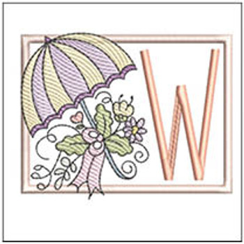 Umbrella Applique ABCs - W - Embroidery Designs