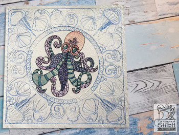 "Octopus Quilt Block-Fits a  5x5"", 6x6"", 7x7"", 8x8"" & 10x10""  Hoop - Machine Embroidery Designs"