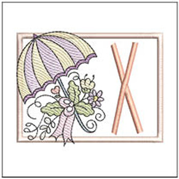 Umbrella Applique ABCs - X - Embroidery Designs
