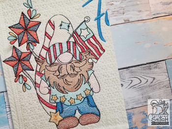 "Freedom Gnome (Gnome Only) - Fits a  4x4"", 5x7"" &  8x8"" Hoop - Machine Embroidery Designs"