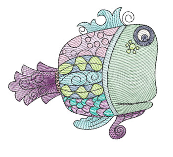 "Guppy (Fish Only - NO Background)-  Fits a 4x4"", 5x7"" and 8x8"" Hoop - Machine Embroidery Designs"