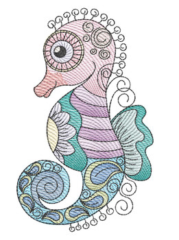 "Seahorse (Fish Only - NO Background)-  Fits a 4x4"", 5x7"" and 8x8"" Hoop - Machine Embroidery Designs"