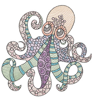 "Octopus (Fish Only - NO Background)-  Fits a 4x4"", 5x7"" and 8x8"" Hoop - Machine Embroidery Designs"
