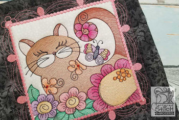 "Cat Quilt Block #3 - Fits a  4x4"", 5x5"", 6x6"", 7x7"", 8x8"" & 10x10""  Hoop - Machine Embroidery Designs"