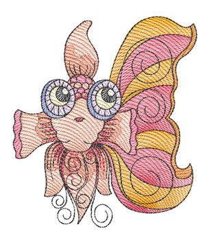"Goldfish (Fish Only - NO Background)-  Fits a 4x4"", 5x7"" and 8x8"" Hoop - Machine Embroidery Designs"