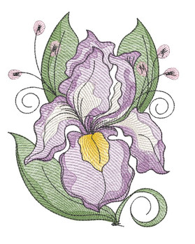 "Iris Cluster (Flowers Only - NO Background)-  Fits a 4x4"", 5x7"" and 8x8"" Hoop - Machine Embroidery Designs"