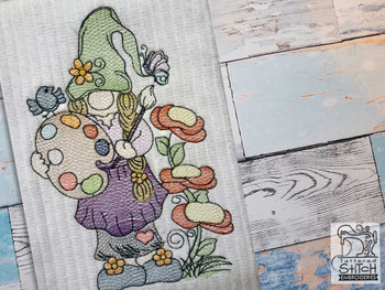 """Artist Gnome - Fits a  4x4"""", 5x7"""" &  8x8"""" Hoop - Machine Embroidery Designs"""