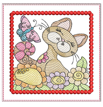 "Cat 2 Mug Rug - Fits a 5x7"" Hoop - Machine Embroidery Designs"