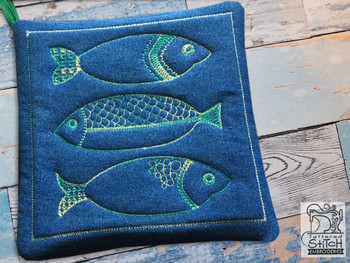 "3 Fish Pot Holder - Fits a 8x8"" Hoop - Machine Embroidery Designs"