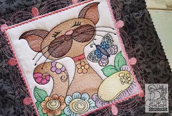 "Cat Quilt Block #4 - Fits a  4x4"", 5x5"", 6x6"", 7x7"", 8x8"" & 10x10""  Hoop - Machine Embroidery Designs"