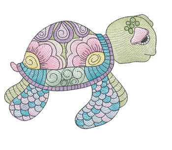 "Turtle (Turtle Only - NO Background)-  Fits a 4x4"", 5x7"" and 8x8"" Hoop - Machine Embroidery Designs"