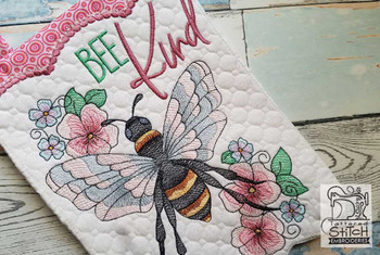 "Bee Kind Garden Flags - Fits  5x7, 6x10  and 8x12"" Hoop - Instant Downloadable Machine Embroidery"