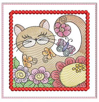 "Cat 3 Mug Rug - Fits a 5x7"" Hoop - Machine Embroidery Designs"