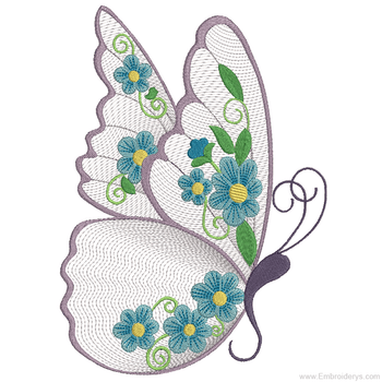 Elegant Floral Butterfly - Embroidery Designs