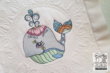 """Whale Quilt Block-Fits a  5x5"""", 6x6"""", 7x7"""", 8x8"""" & 10x10""""  Hoop - Machine Embroidery Designs"""