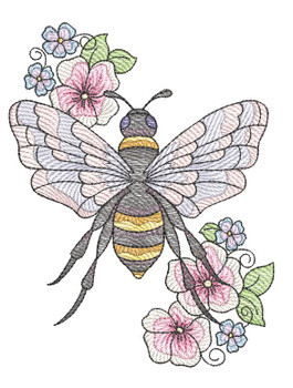 "Floral Bee (Bee Only - NO Background)-  Fits a 4x4"", 5x7"" and 8x8"" Hoop - Machine Embroidery Designs"
