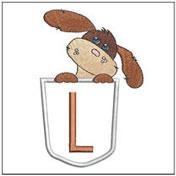 "Puppy Luv Applique ABCs - L - Fits a 5x7"" Hoop - Embroidery Designs"