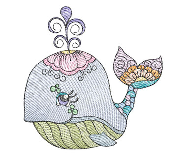 """Whale (Whale Only - NO Background)-  Fits a 4x4"""", 5x7"""" and 8x8"""" Hoop - Machine Embroidery Designs"""