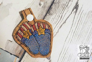 "Patriotic Flip Flops Key Chain- Fits a  4x4""  Hoop - Machine Embroidery Designs"
