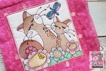 "Cat Quilt Block #6 - Fits a  4x4"", 5x5"", 6x6"", 7x7"", 8x8"" & 10x10""  Hoop - Machine Embroidery Designs"