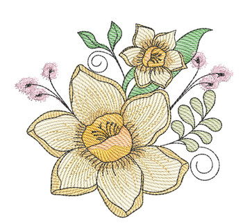 "Daffodil Cluster (Flowers Only - NO Background)-  Fits a 4x4"", 5x7"" and 8x8"" Hoop - Machine Embroidery Designs"