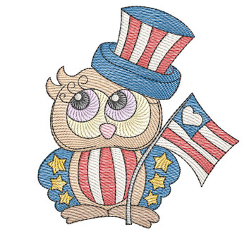 "4th of July Owl - Fits a  4x4"", 5x7"" &  8x8"" Hoop - Machine Embroidery Designs"