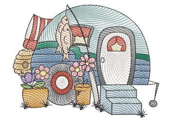 """Camper 5 - Fits a  4x4"""", 5x7"""" &  8x8"""" Hoop - Machine Embroidery Designs"""
