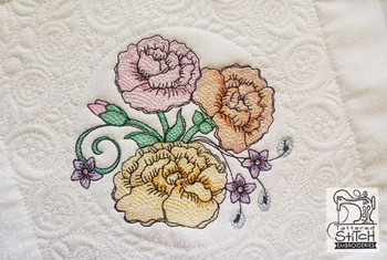 "Carnation Cluster Quilt Block-Fits a  5x5"", 6x6"", 7x7"", 8x8"" & 10x10""  Hoop - Machine Embroidery Designs"