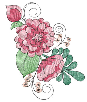 "Peony Cluster (Flowers Only - NO Background)-  Fits a 4x4"", 5x7"" and 8x8"" Hoop - Machine Embroidery Designs"