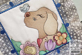"""Whimsical Dog Quilt Block #1 - Fits a  4x4"""", 5x5"""", 6x6"""", 7x7"""", 8x8"""" & 10x10""""  Hoop - Machine Embroidery Designs"""