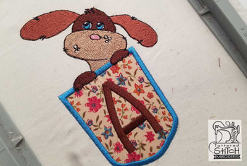 "Puppy Luv Applique ABCs - V - Fits a 5x7"" Hoop - Embroidery Designs"