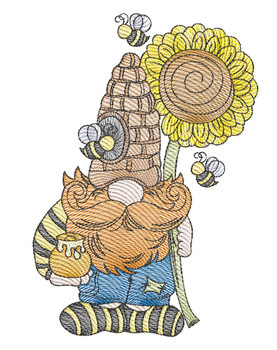 """Beekeeper Gnome - Fits a  4x4"""", 5x7"""" &  8x8"""" Hoop - Machine Embroidery Designs"""