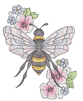 "Floral Bee (Bee Only - NO Flag Background)-  Fits a 4x4"", 5x7"" and 8x8"" Hoop - Machine Embroidery Designs"