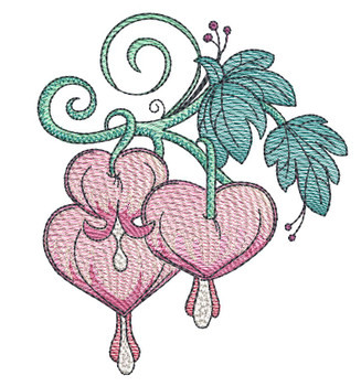 "Bleeding Hearts Cluster (Flowers Only - NO Background)-  Fits a 4x4"", 5x7"" and 8x8"" Hoop - Machine Embroidery Designs"