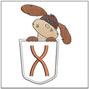 "Puppy Luv Applique ABCs - X - Fits a 5x7"" Hoop - Embroidery Designs"