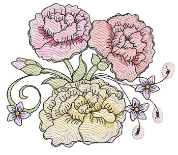 "Carnation Cluster (Flowers Only - NO Background)-  Fits a 4x4"", 5x7"" and 8x8"" Hoop - Machine Embroidery Designs"