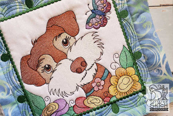"""Whimsical Dog Quilt Block #2 - Fits a  4x4"""", 5x5"""", 6x6"""", 7x7"""", 8x8"""" & 10x10""""  Hoop - Machine Embroidery Designs"""